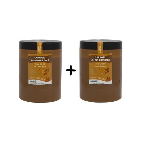 Pâte à tartiner Lot 2 x 1.1kg Caramel beurre salé et Fleur de Sel de Guérande sans huile de palme