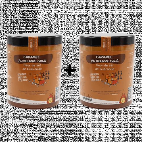 Pâte à tartiner Lot 2 x 1,1Kg Caramel beurre salé et Fleur sel de Guérande sans huile de palme