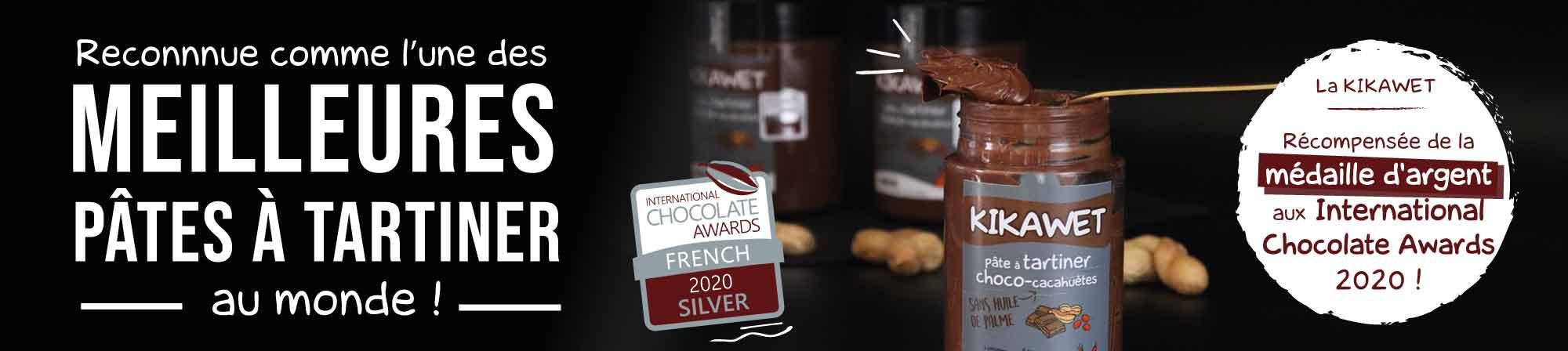 Pâte à tartiner Charles Chocolartisan chocolat lait cacahuète récompensée d'une médaille d'argent aux International Chocolate Awards 2020