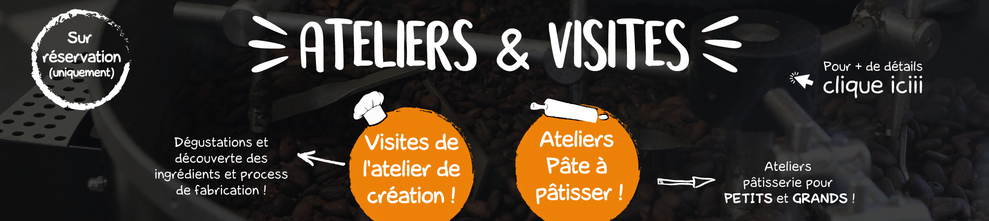 description ateliers et visites au magasin d'usine